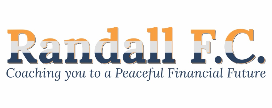 """Text based logo that reads RandallF.C. on top with the colors orange light grey and navy across it, and underneath in navy is tag line """"Coaching you to a Peaceful Financial Future"""""""