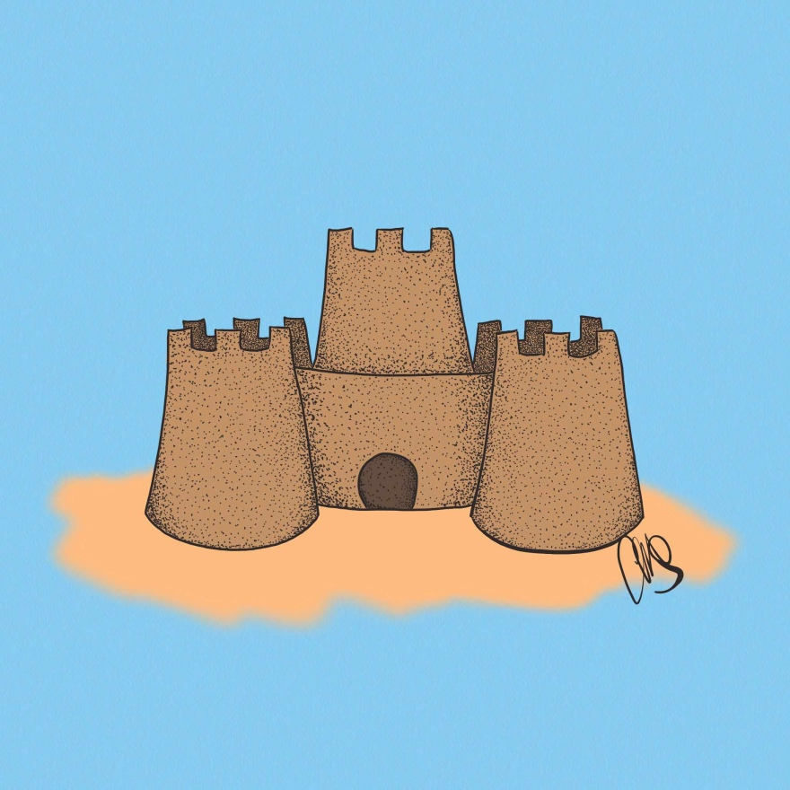 Digital pen and ink drawing of a sand castle. Four pails on bottom layer of castle one pail in upper center. Blue background and a sandy color to the castle, which is textured with a stippling (pointillist) technique for depth.