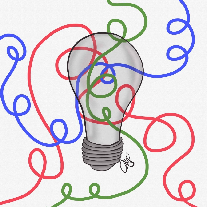 Black and white drawing of a light bulb. With red, green and blue wires looping behind the bulb. The bulb is transparent so you can see the wires when they loop behind the bulb.