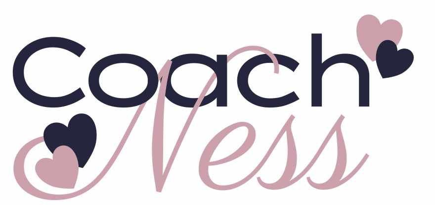 Text logo for Coach Ness top reads Coach in simple san serif font colored dark navy blue, and Ness is a blush mauve in a script font below. there are a mauve and navy heart up by the h in coach and down by the n in ness.