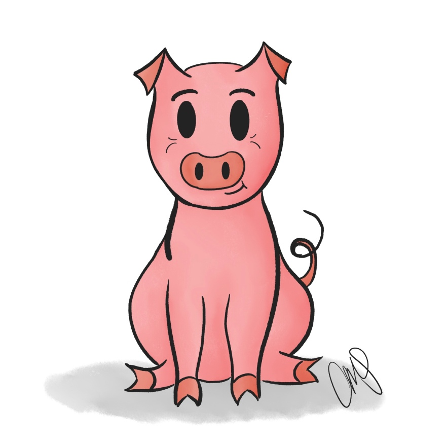 Digital drawing of a cartoon pig, inspired by Elephant and Piggie books by Mo Willems