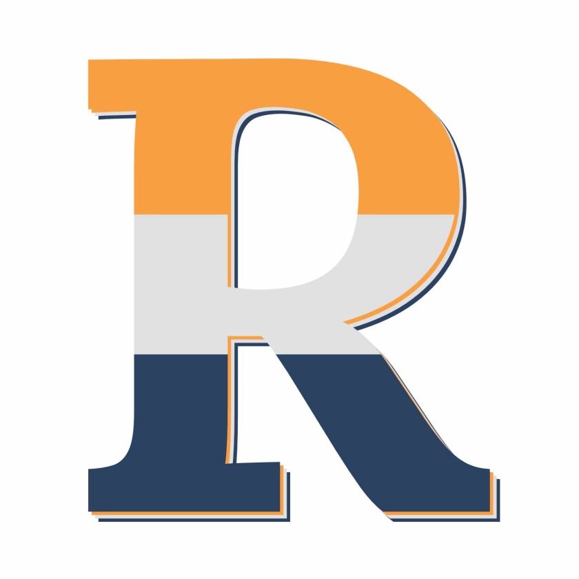 image of uppercase R that has top to bottom: Orange then Grey then Navy horizontal stripes across the R.