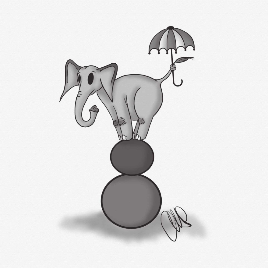 Black and white digital pen and ink drawing of an elephant balancing on 2 large balls. The elephant is holding an umbrella in its tail for balance.