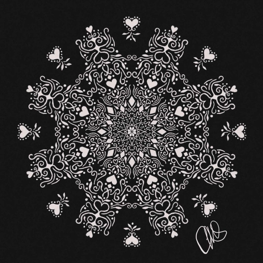 digital pencil sketch if a flourishy snowflake. the snowflake is white on a black background.