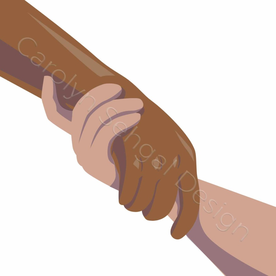 illustration of 2 hands clasping. this illustration is drawn in such a way that the hand on the left looks like is it lifting up the hand on the right.