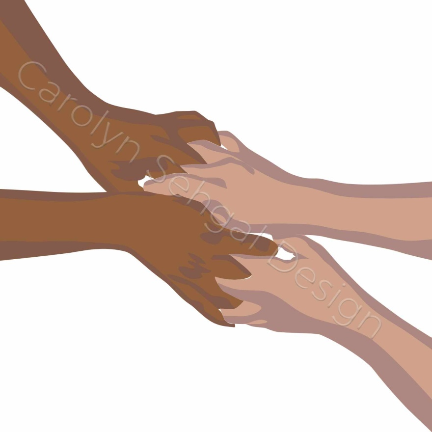 illustration of 4 hands clasping each other in a helping hands way.