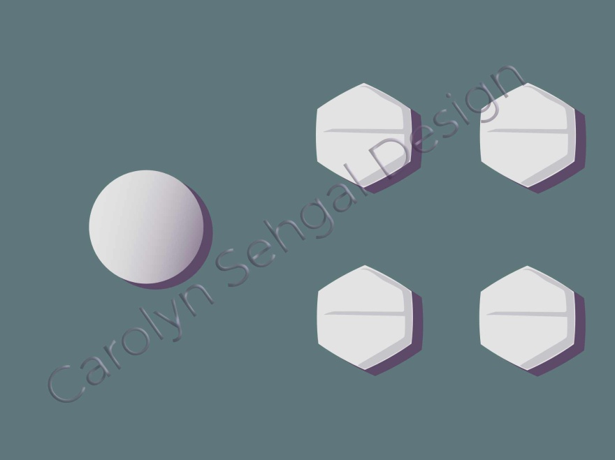 image of 5 pills sitting on a mat. one is circular and slightly larger and the other four are hexagons and the same size as each other.