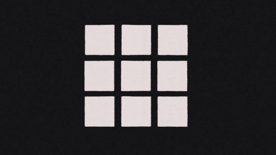 white pencil sketch on a black background of nine squares arranged 3 across and 3 down. this is what the assets studio symbol looks like when using affinity designer on an ipad.