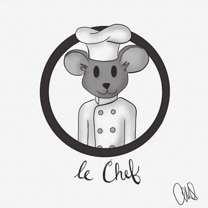 "black and white digital drawing of a grey mouse popping out of a circle. the mouse is wearing a chef hat and coat and below the circle is hand written text that reads ""le Chef""."