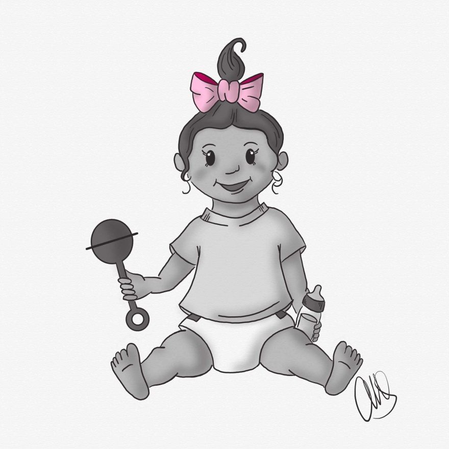 Digital drawing of a baby girl sitting holding a bottle in one hand and and a rattle in the other hand. She has a pink bow in her hair.