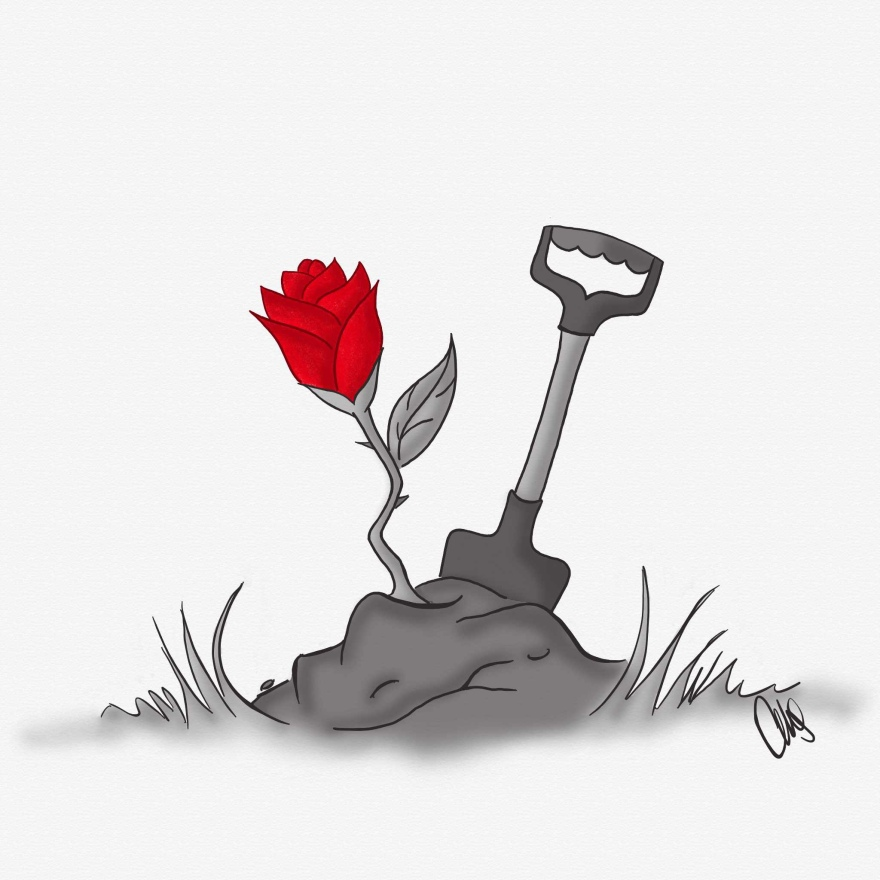 Digital image of a dirt mound with a red rose and a shovel sticking out of it. The rose petals are red but the rest of the image is black and white.