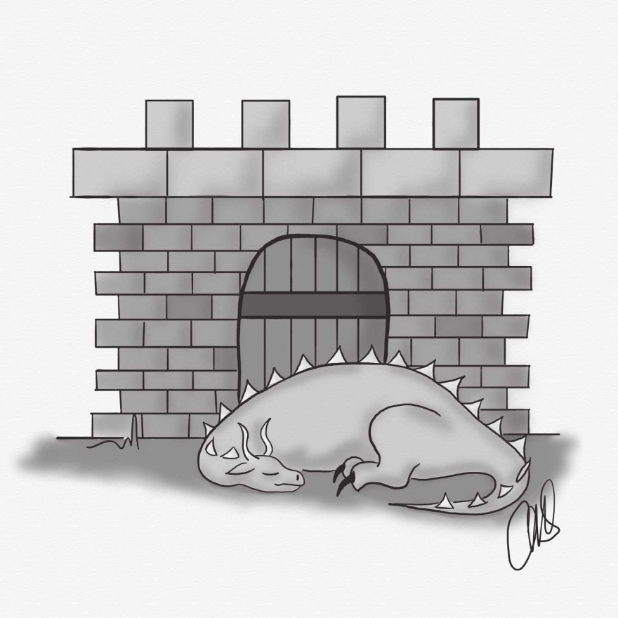 Black and white drawing of dragon sleeping in front of a castle gate
