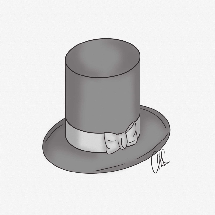 black and white pen and ink sketch of a mens top hat with a bow on the brim