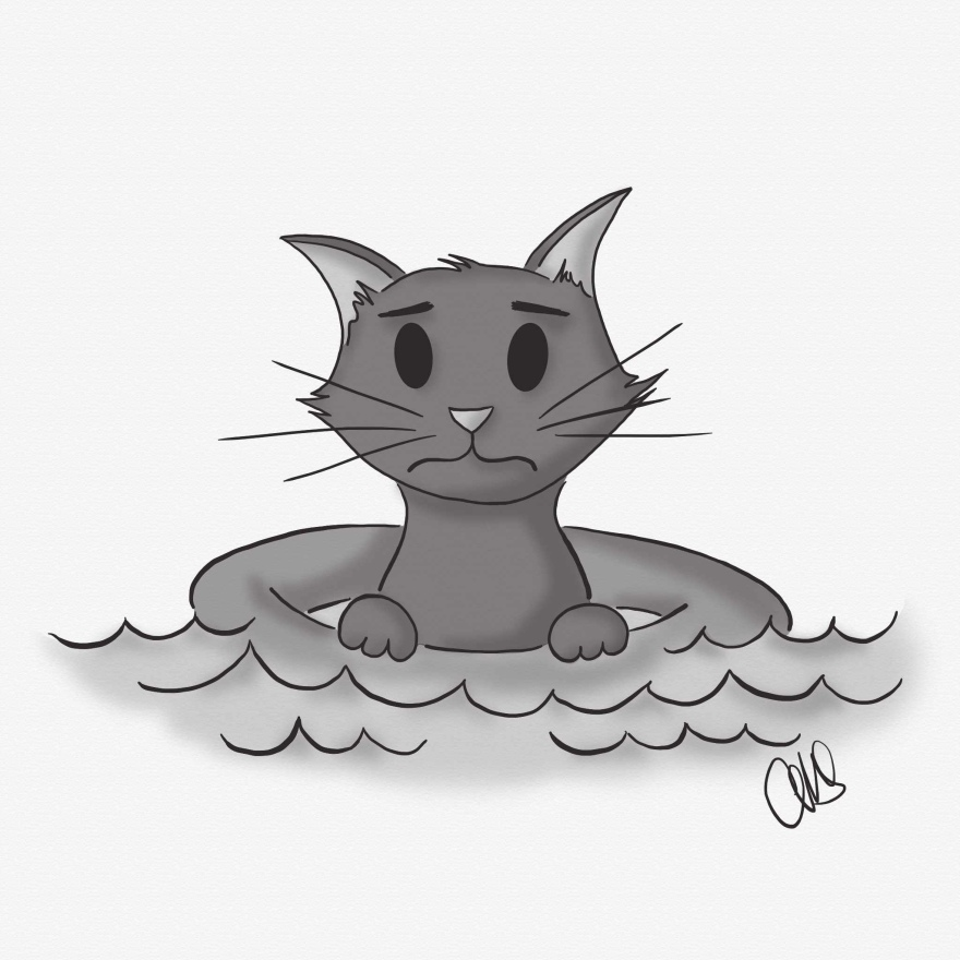 "Digital illustration of a cat floating on the water in an innertube. The cat looks like they are not happy to be stuck floating in the water. The expression on their face says ""get me outta here!"""