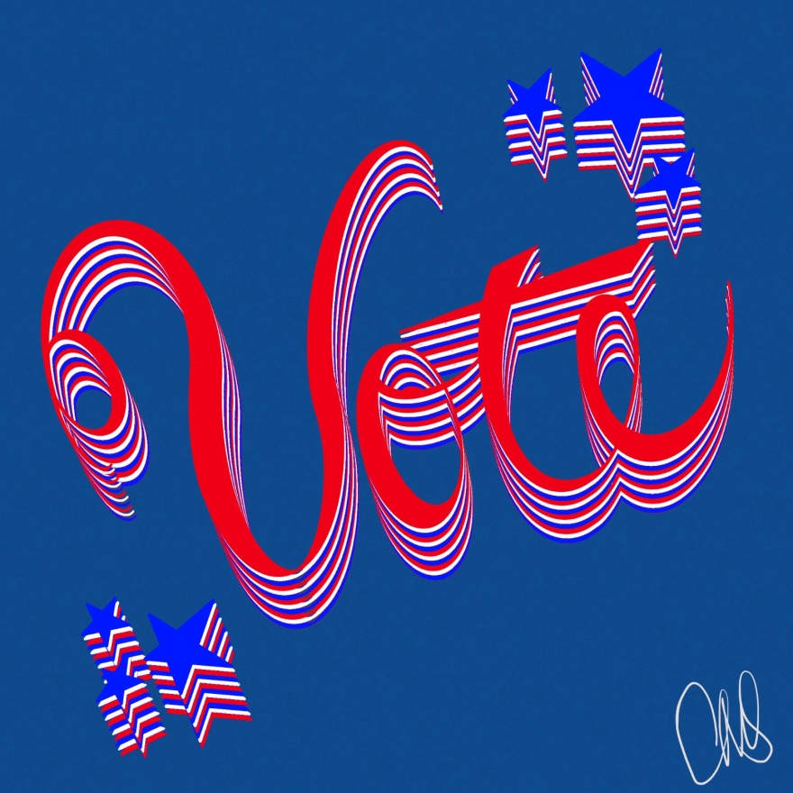 Red, White, and Blue calligraphy script that reads Vote with Stars in upper right and lower left corners.
