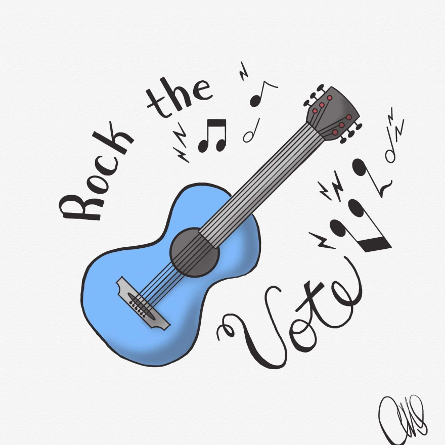 "Digital drawing of a blue acoustic guitar with text reading ""Rock the Vote"" and music notes wrapped around it."