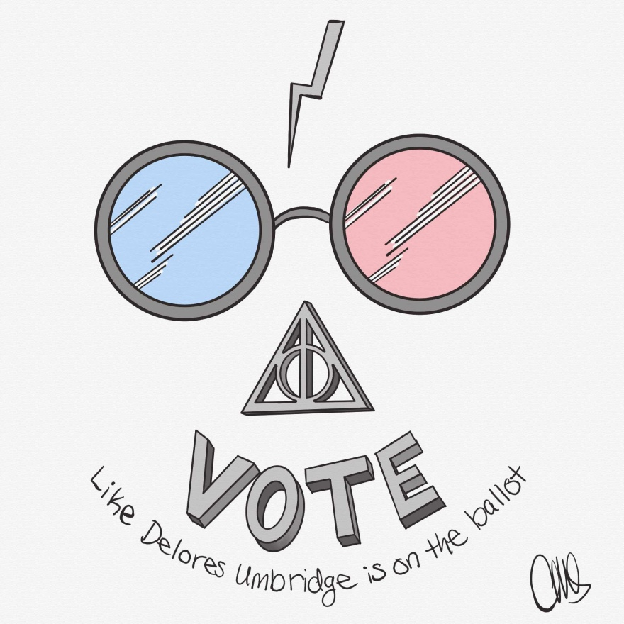 "harry potter lightning bolt, below that is the glasses (left eye blue, right eye red), below that is a 3d deathly hallows symbol, next is a 3d vote block text, and finally at the bottom is hand written text that reads ""like Delores Umbridge is on the ballot"""