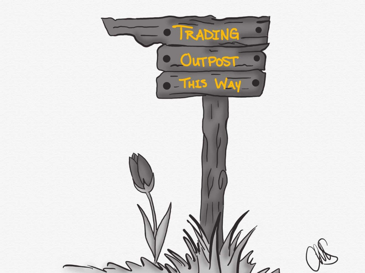 "black and white digital sketch of a ""Trading Outpost This Way"" sign. The post is drawn to look like a wooden post stuck in the grass, with a tulip growing up out of the ground on the left side. The Text is written in yellow, while the rest of the image is black and white."