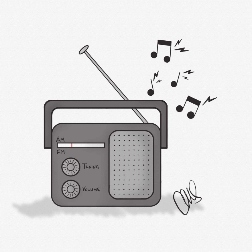 digital pencil sketch of a hand radio with tuning and volume nobs below the station bar with one speaker on the right. Music notes coming out of the top to signify that it is currently playing music.