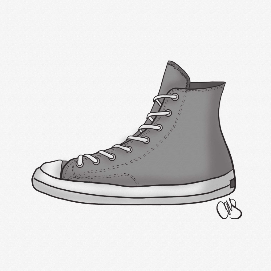 Digital black and white drawing of a converse high top shoe