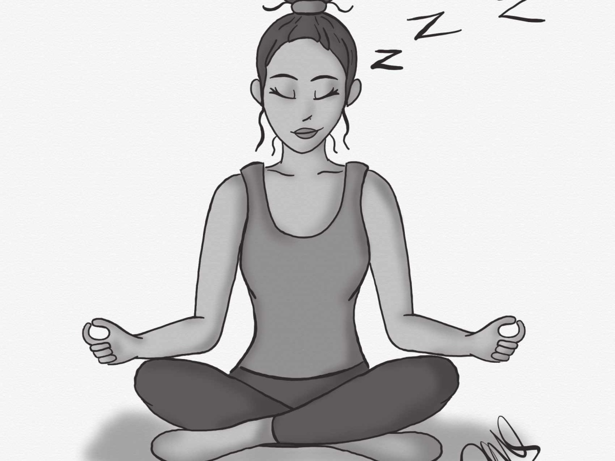 Digital black and white drawing of a girl sitting who at first glance appears to be meditating but she is actually sleeping. There are zzz's that are floating above her head.
