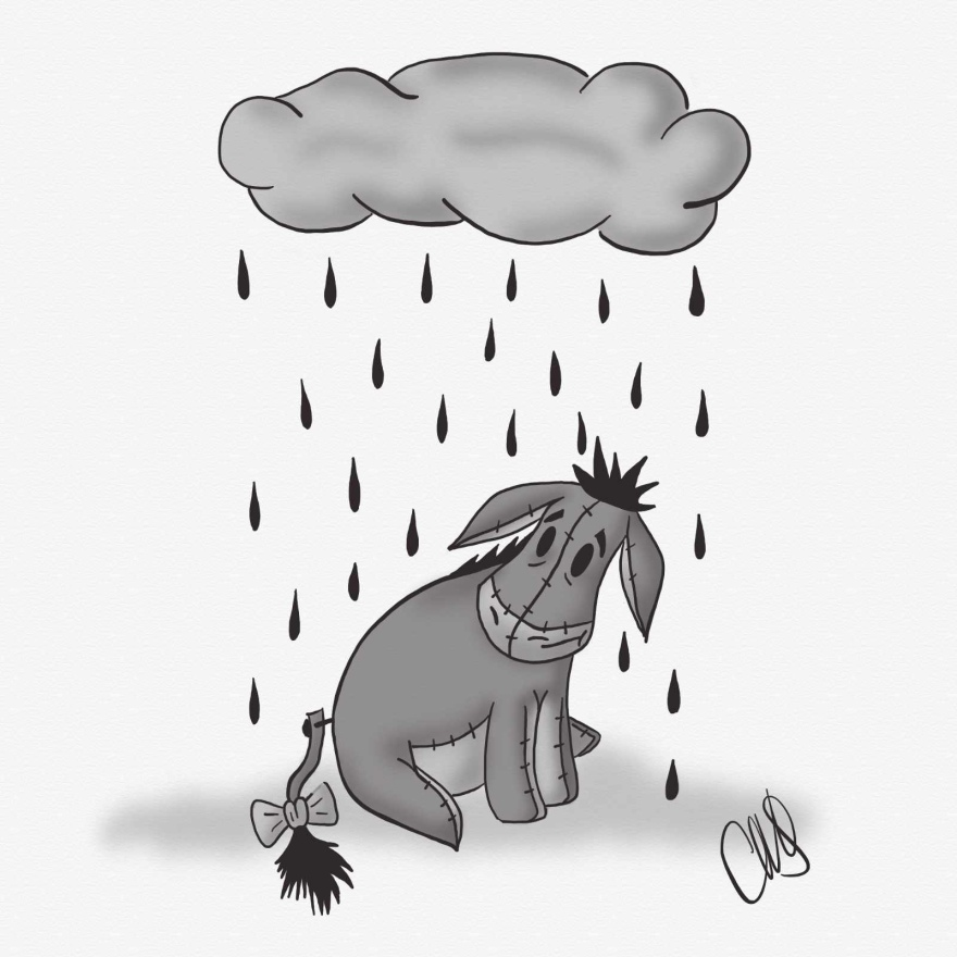Black and white digital drawing of Eeyore from Winnie the Pooh. He is sitting looking sad under a rain cloud.