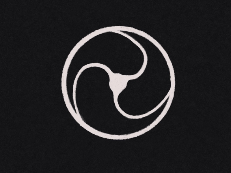 symbol studio icon, white spinning wheel split into 3rds and curved in motion.