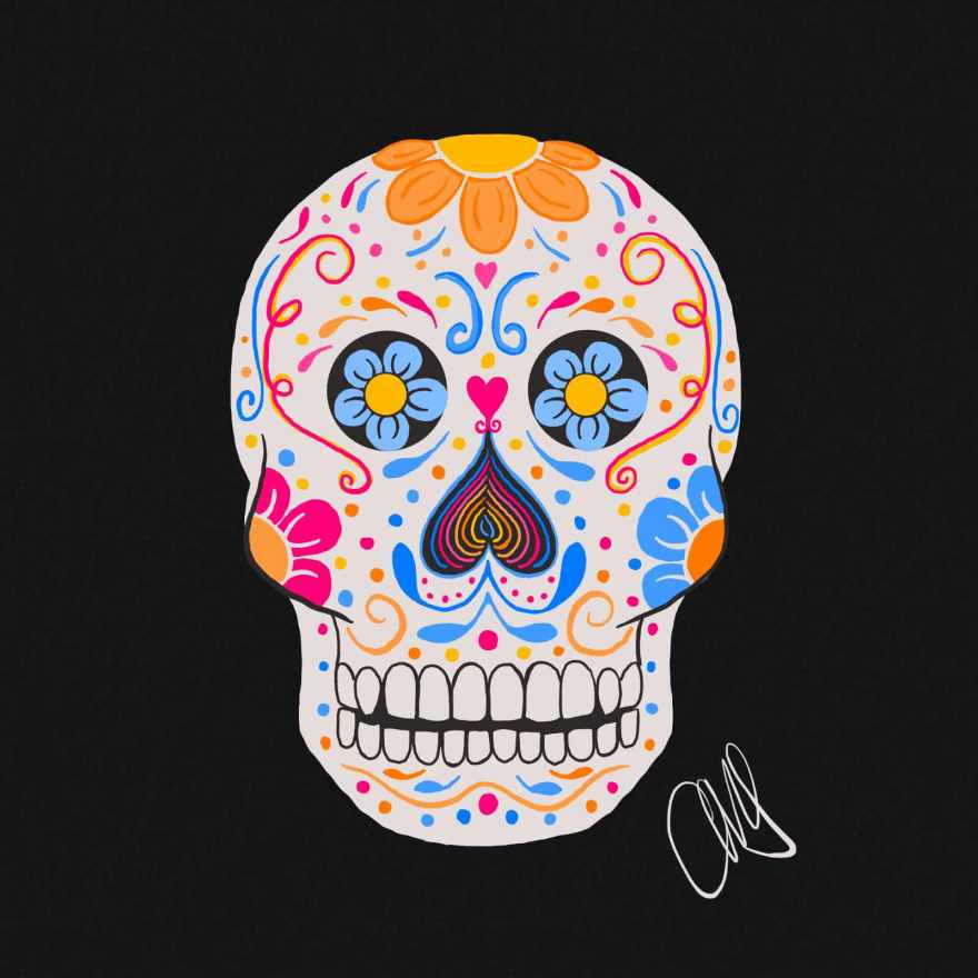 Color illustration of a mexican dia de los muertos sugar skull. It is a white skull bright colorful decorations (flowers, swirls, hearts, etc). The colors used are orange, pink, and blue.