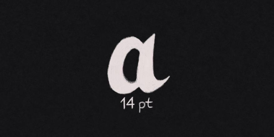 digital white pencil sketch on a black background of the letter a with 14pt written underneath. this is what the icon for the text studio looks like on affinity designer for ipad looks like.