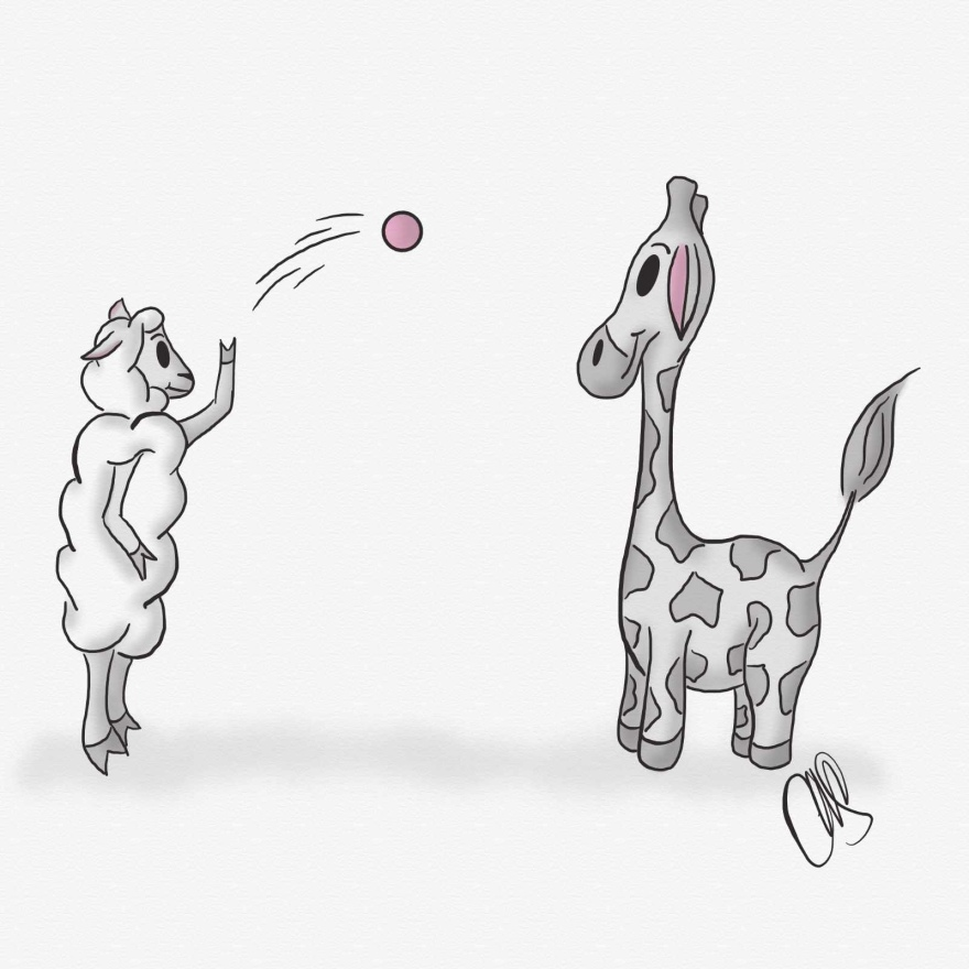 Cartoon of a giraffe (Gigi) and a sheep (Sheepie). The sheep is on its hind legs and is throwing a pink ball to the giraffe. Most of the image is in black and white however there are some pink accent colors in the image