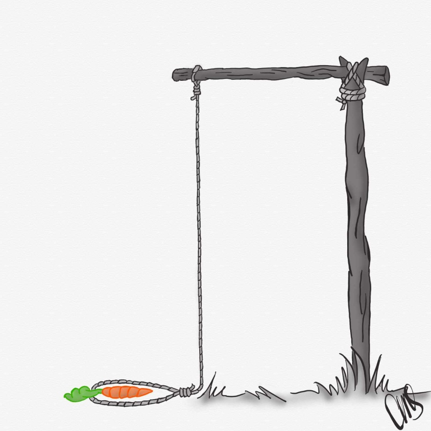 digital drawing of an animal trap with a carrot sitting inside the rope waiting for an animal to come and trigger the trap.