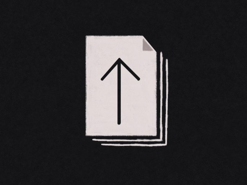 Illustration of the icon for exporting documents in affinity designer for iPad. It looks like a stack of papers with an up arrow in the middle of it