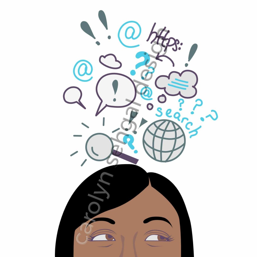 Illustration of top half of woman's head. she is looking up and to the right and above hear head are symbols that are meant to represent her confusion in where to search for the answers she is seeking on the internet.
