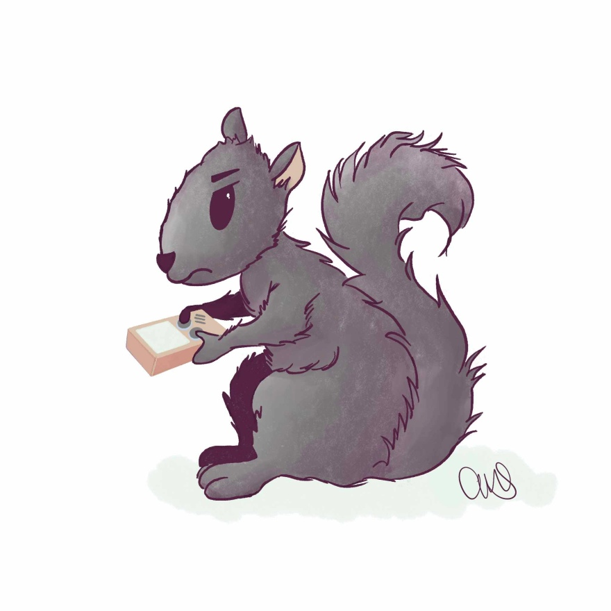 Illustration of a grey squirrel playing a handheld video game. Whatever the game is the squirrel looks frustrated at it.