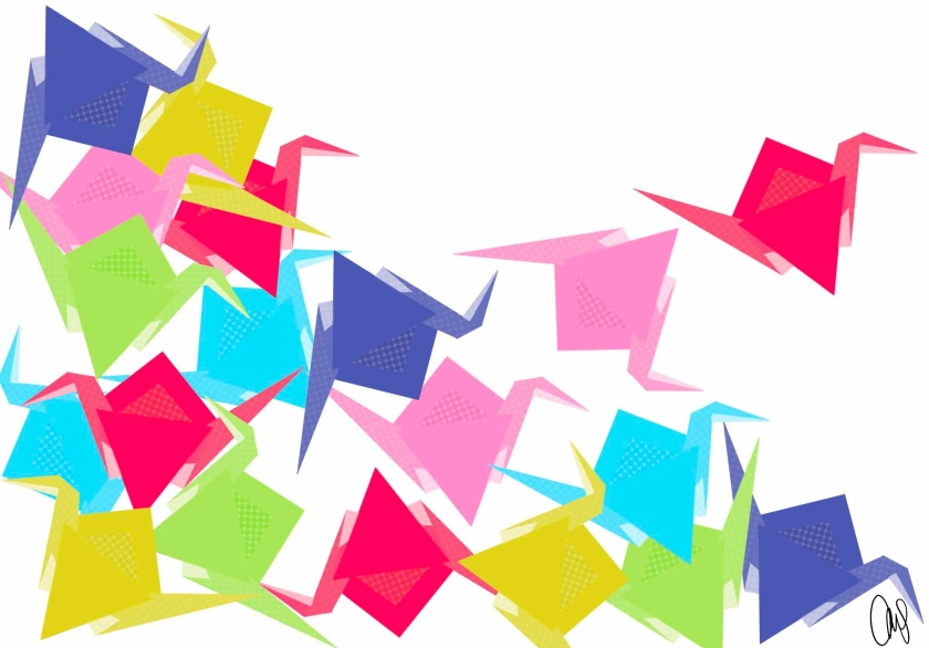Illustration of paper cranes in every color of the rainbow. They are all jumbled together more heavily on the left and getting dispersed as you move to the right and the upper right corner empty canvas.