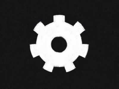 digital pencil sketch of a gear. the gear is white and the background is black.