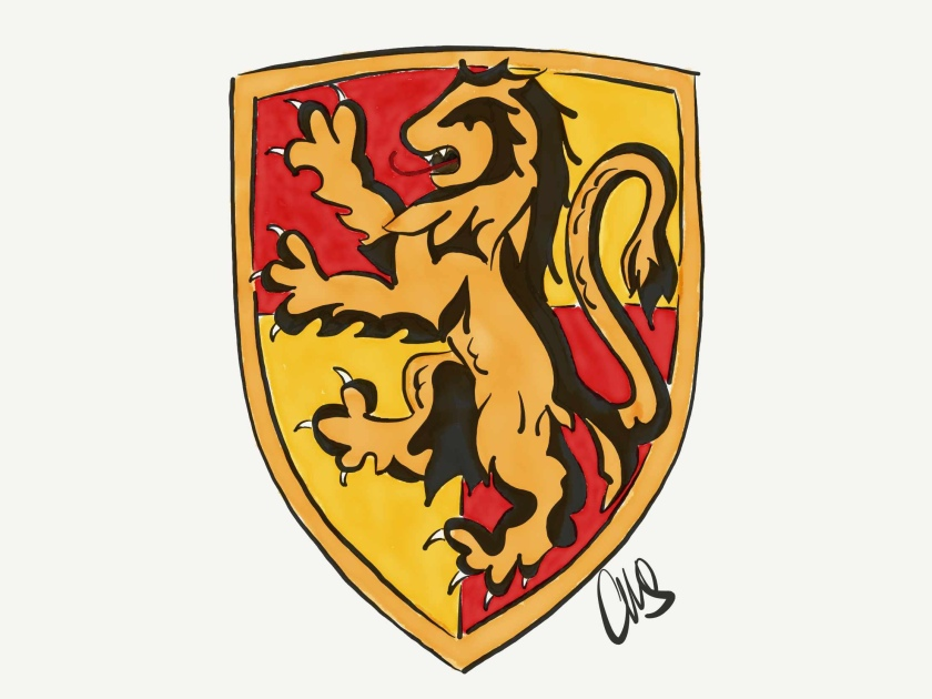 digital ink and watercolor drawing of the Gryffindor lion house crest.
