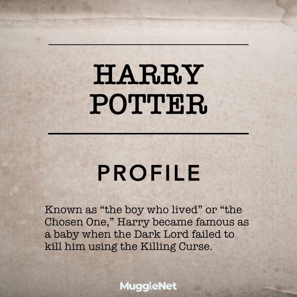 Parchment paper background of Harry Potter resume: Profile