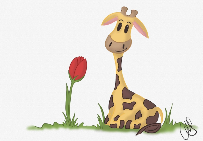 digital drawing of a cartoon giraffe named Gigi sitting on the grass with a red tulip growing next to her.
