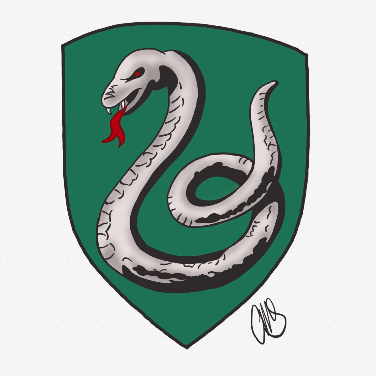 Digital drawing of a silver snake on a green crest.