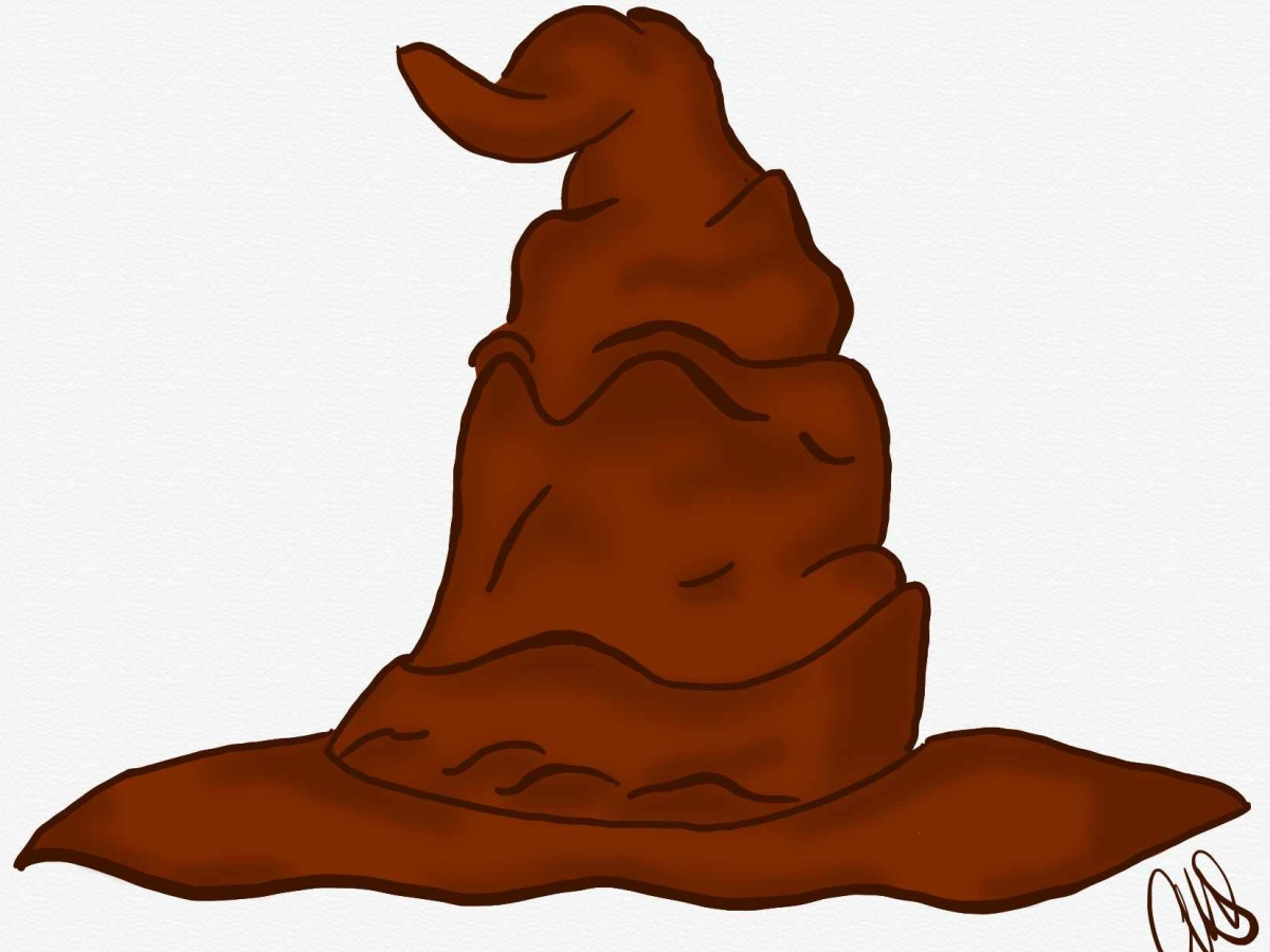Pen and ink digital drawing of the sorting hat from Harry Potter. The illustration is a brown witch hat that is drawn to look like a wizened wrinkled leather. If you look closely at the folds of the hat some of them look like they are forming a face.