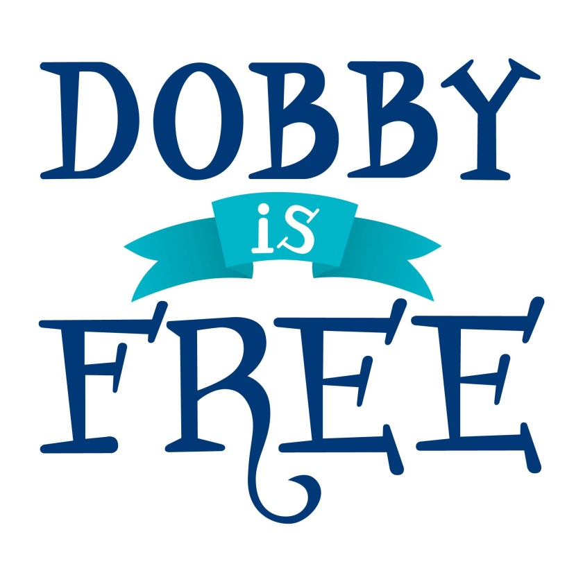 """Hand lettered text reading top to bottom """"Dobby is Free"""" all in MuggleNets navy and teal color scheme"""