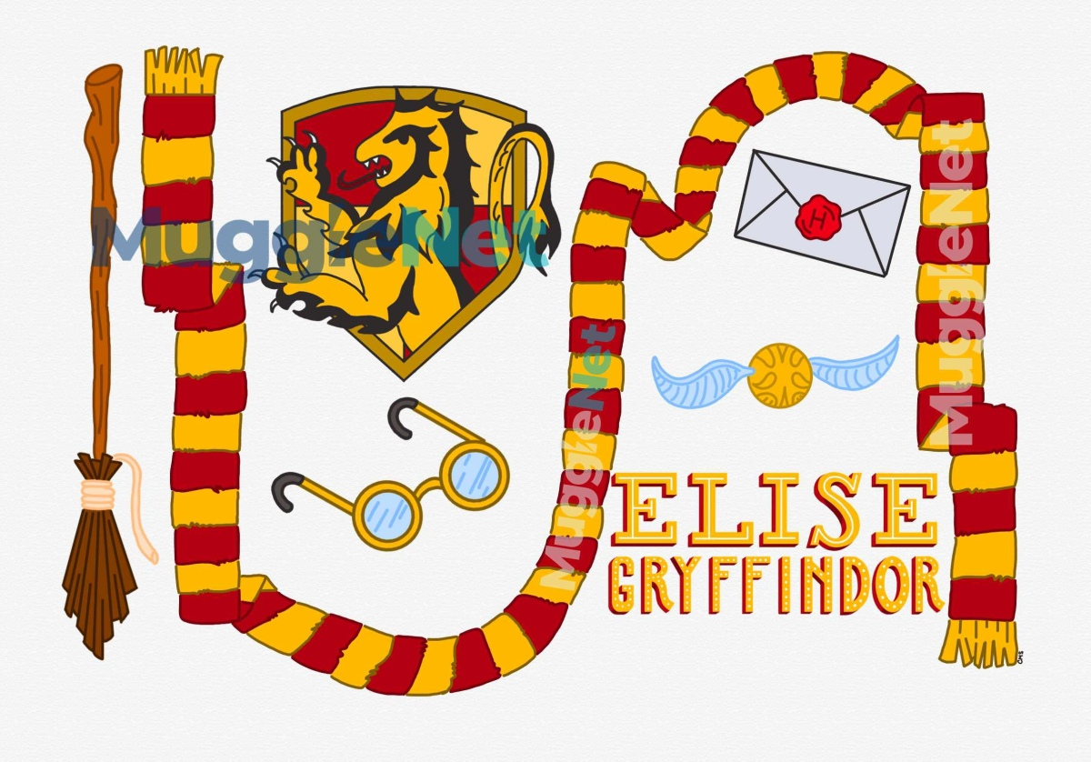 digital illustration with a gryffindor theme. from left to right there is a broom, gryffindor crest, round glasses, a hogwarts letter, a snitch and hand-lettered text that reads Elise Gryffindor. the entire illustration has a gryffindor scarf wrapping through it. The color scheme of the entire illustration is themed red, gold and yellow for gryffindor.