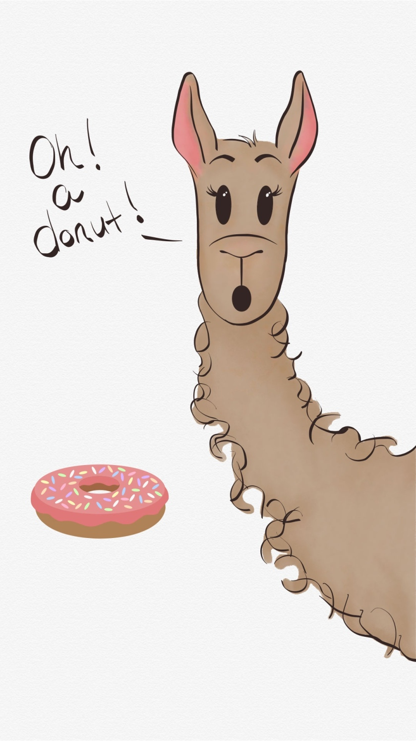 """illustration of Lulu the llama next to a donut. written text says """"Oh a donut!"""""""