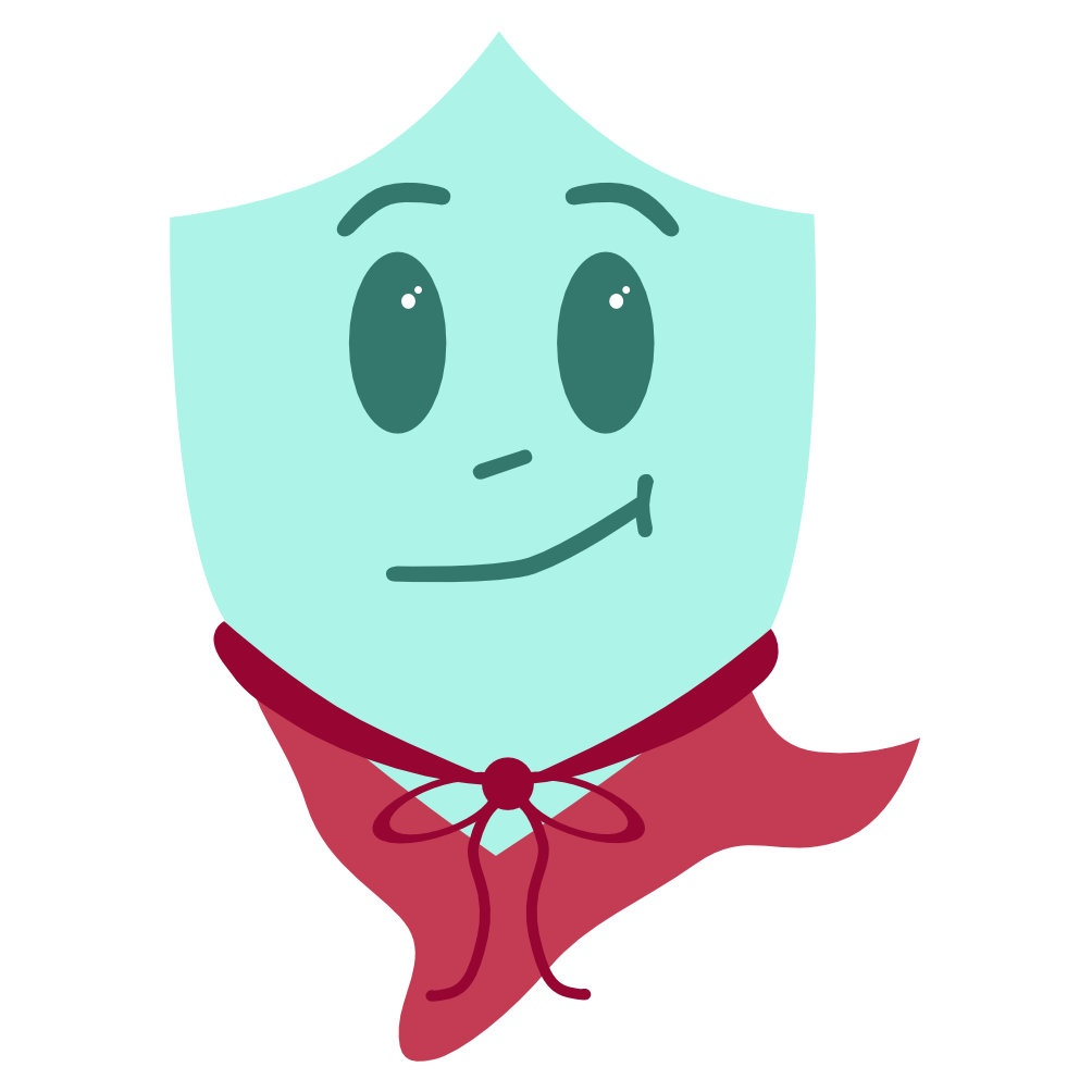 graphic of a shield smiling and wearing a cape. meant to represent an antibody