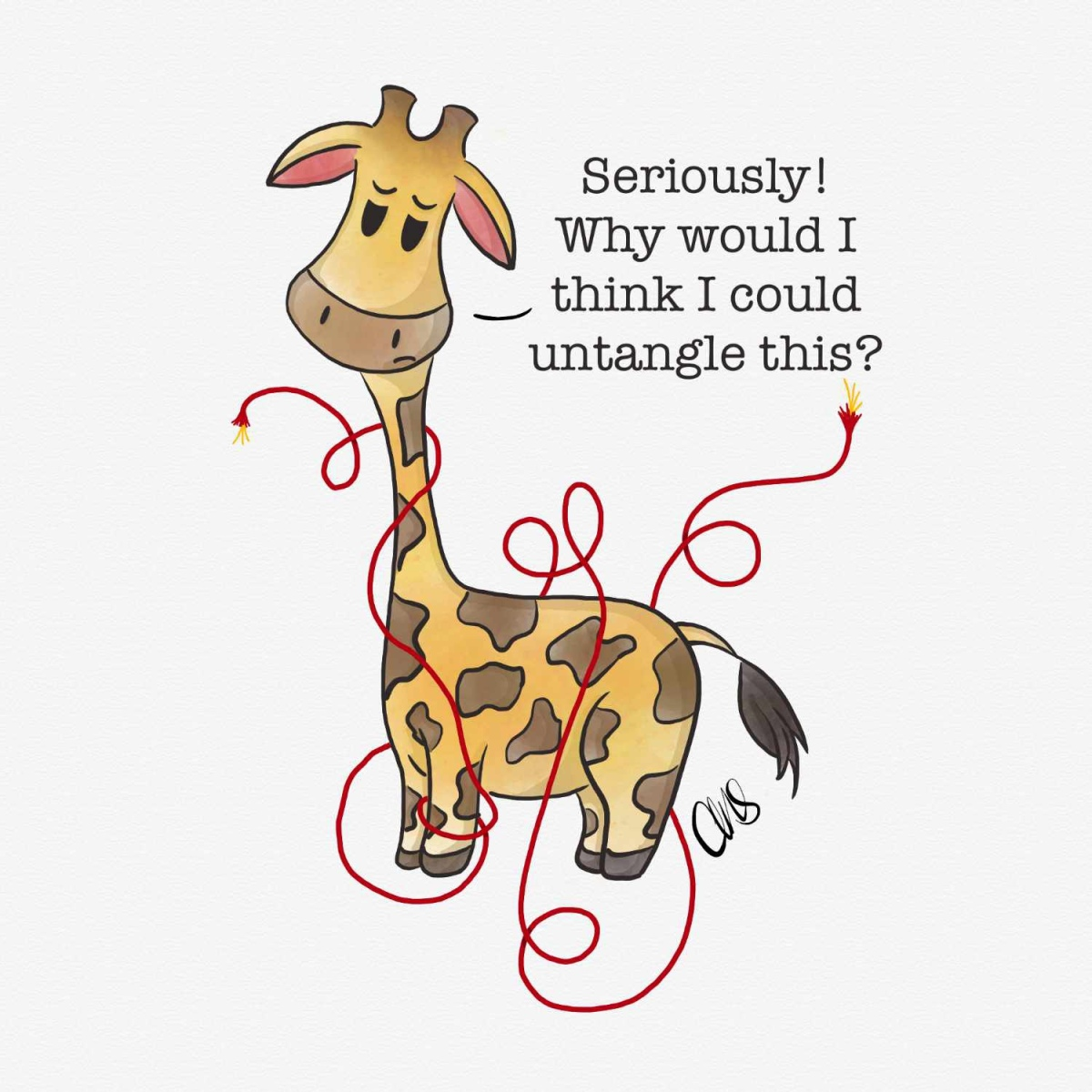ink and watercolor illustration of a sad giraffe (named Gigi) who is tangled in a red wire.